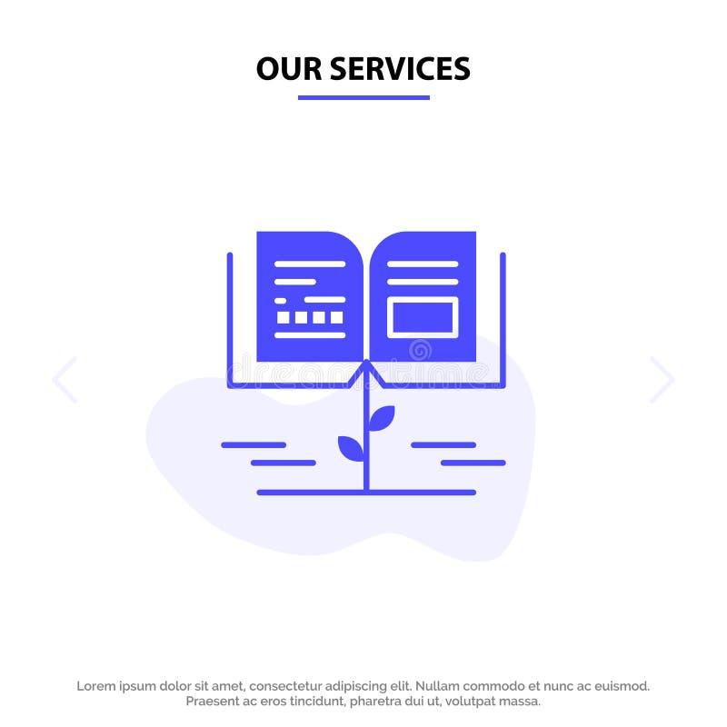 Nuestro crecimiento de los servicios, conocimiento, conocimiento del crecimiento, plantilla sólida de la tarjeta de la web del ic libre illustration