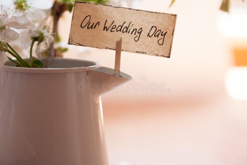Nuestro día de boda fotos de archivo libres de regalías