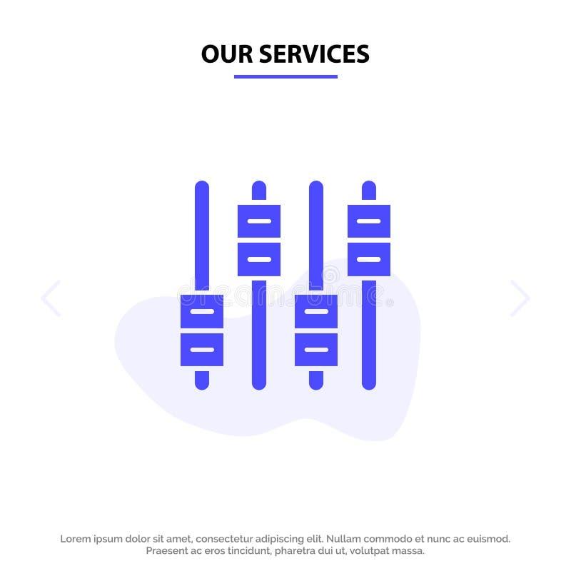 Nuestro equalizador de los servicios, sonido, audio, plantilla sólida de la tarjeta de la web del icono del Glyph del volumen stock de ilustración