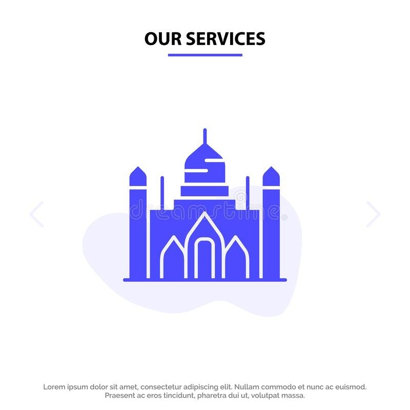 Nuestro fuerte de Aurangabad de los servicios, Bangladesh, Dacca, plantilla sólida de la tarjeta de la web del icono del Glyph de libre illustration