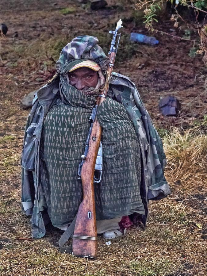 Nuestro guardia en las monta?as, monta?as de Simien, Etiop?a imágenes de archivo libres de regalías