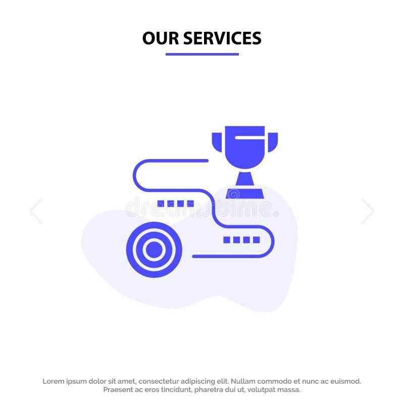 Nuestro logro de los servicios, blanco, éxito, trayectoria, plantilla sólida de la tarjeta de la web del icono del Glyph del triu ilustración del vector