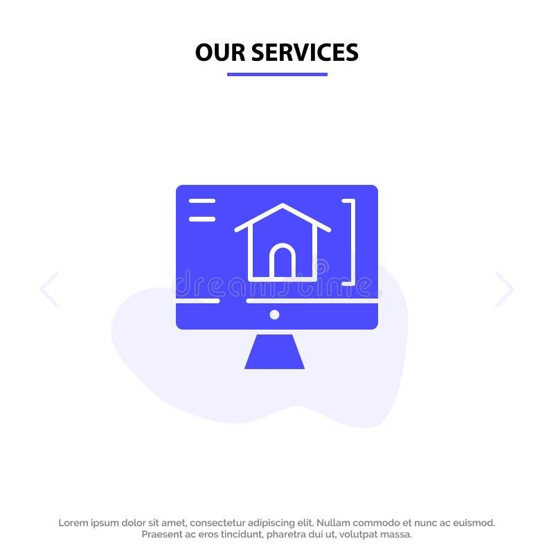 Nuestro ordenador de los servicios, hogar, plantilla sólida de la tarjeta de la web del icono del Glyph de la casa stock de ilustración
