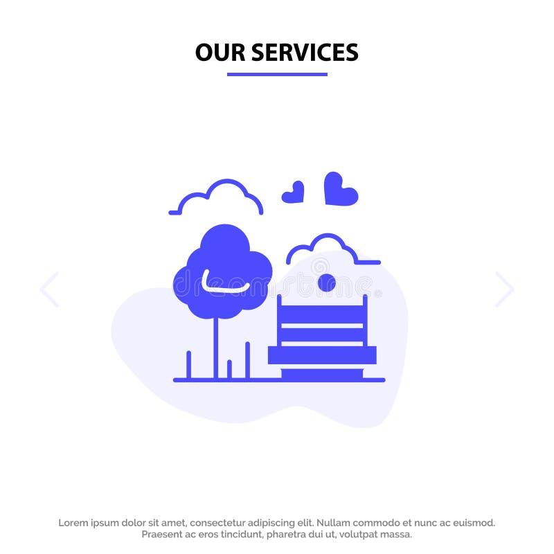 Nuestro parque de servicios, árbol, banco, amor, plantilla sólida al aire libre de la tarjeta de la web del icono del Glyph libre illustration