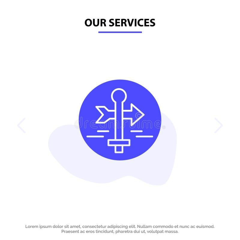 Nuestro tablero de servicios, guía, mapa, indicador del mapa, plantilla sólida de la tarjeta de la web del icono del Glyph del vi libre illustration