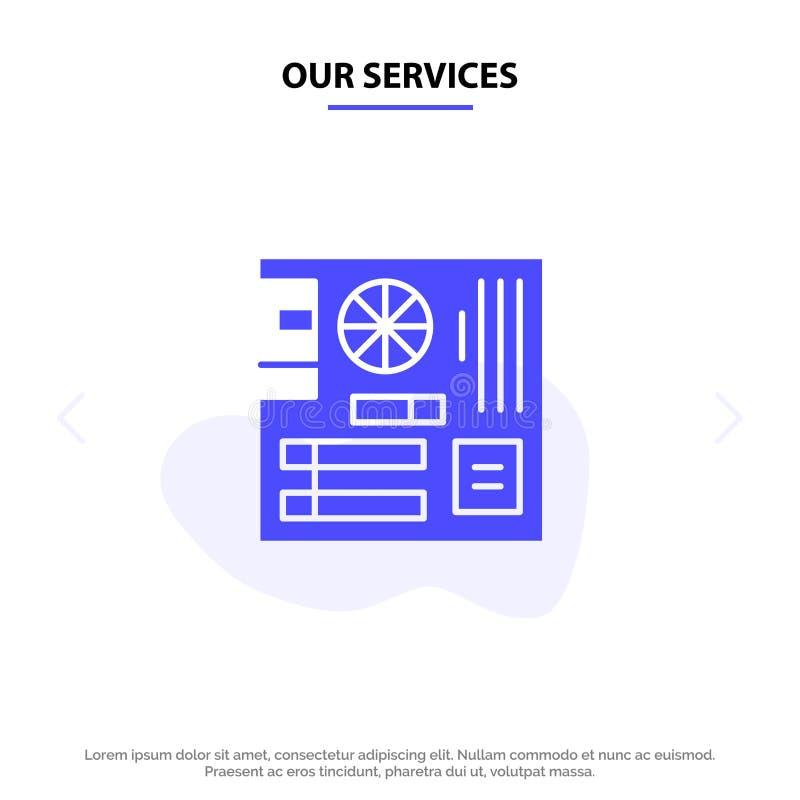 Nuestro tablero de servicios, ordenador, tubería, Mainboard, plantilla sólida de la tarjeta de la web del icono del Glyph de la m libre illustration