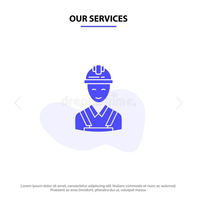 Nuestro trabajador de los servicios, edificio, carpintero, construcción, plantilla sólida de la tarjeta de la web del icono del G ilustración del vector