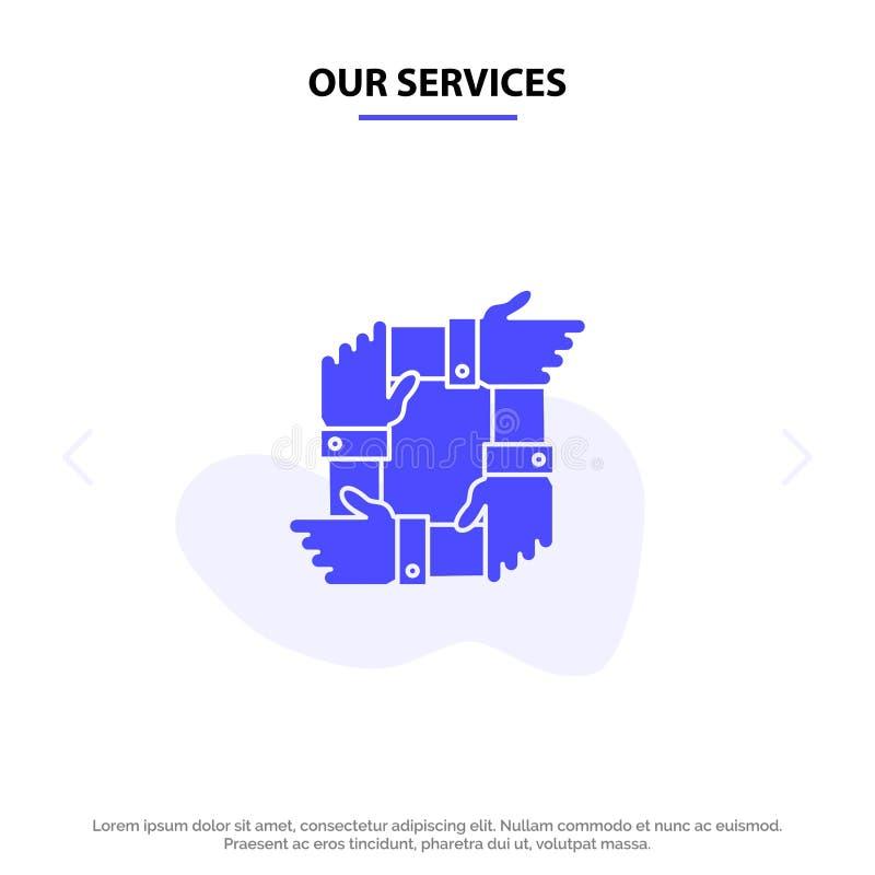 Nuestro trabajo en equipo de los servicios, negocio, colaboración, manos, sociedad, plantilla de la tarjeta de Team Solid Glyph I libre illustration