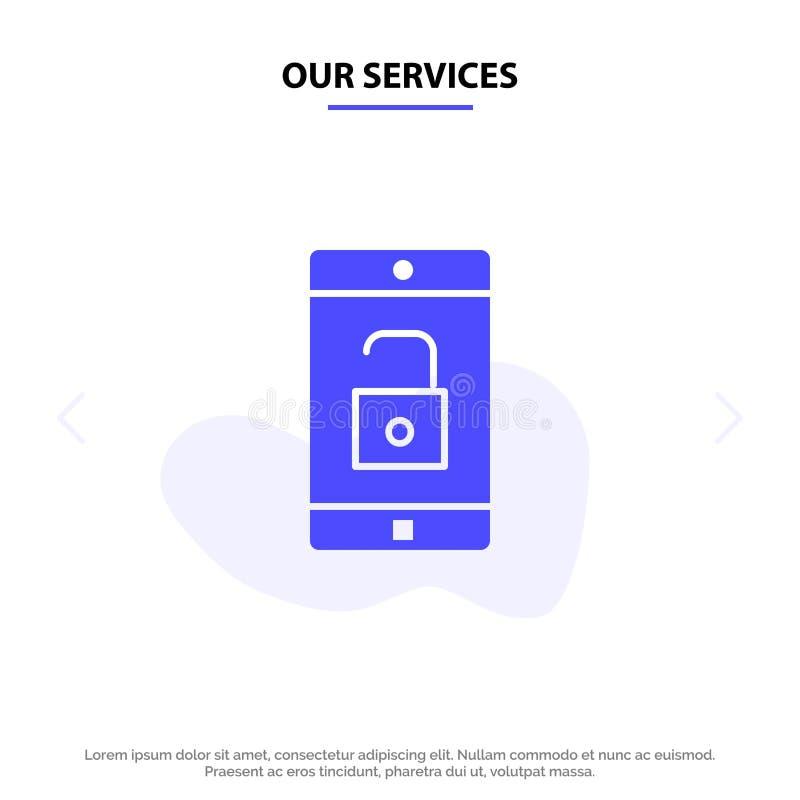 Nuestro uso de servicios, móvil, aplicación móvil, desbloquea la plantilla sólida de la tarjeta de la web del icono del Glyph stock de ilustración