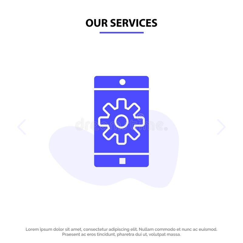Nuestro uso de servicios, móvil, aplicación móvil, fijando la plantilla sólida de la tarjeta de la web del icono del Glyph libre illustration