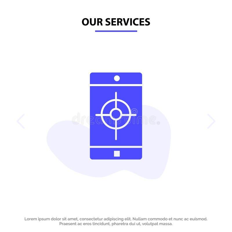 Nuestro uso de servicios, móvil, aplicación móvil, plantilla sólida de la tarjeta de la web del icono del Glyph de la blanco libre illustration