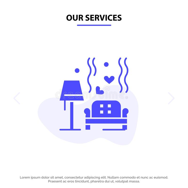 Nuestros servicios amontonan, sofá, amor, corazón, plantilla sólida de la tarjeta de la web del icono del Glyph de la boda libre illustration