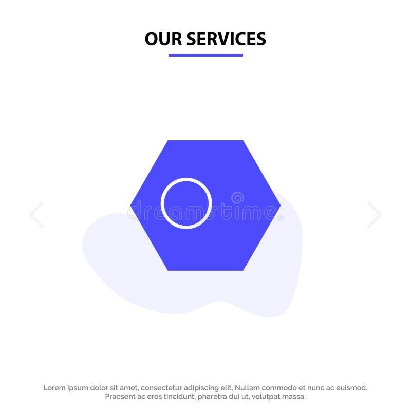 Nuestros servicios asiáticos, Bangla, Bangladesh, país, plantilla sólida de la tarjeta de la web del icono del Glyph de la bander libre illustration