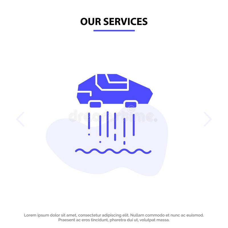 Nuestros servicios asoman coche, personal, coche, plantilla sólida de la tarjeta de la web del icono del Glyph de la tecnología libre illustration