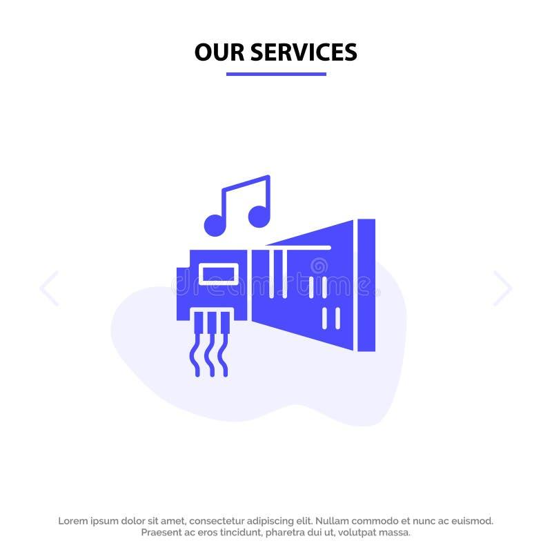 Nuestros servicios audios, arenador, dispositivo, hardware, plantilla sólida de la tarjeta de la web del icono del Glyph de la mú libre illustration
