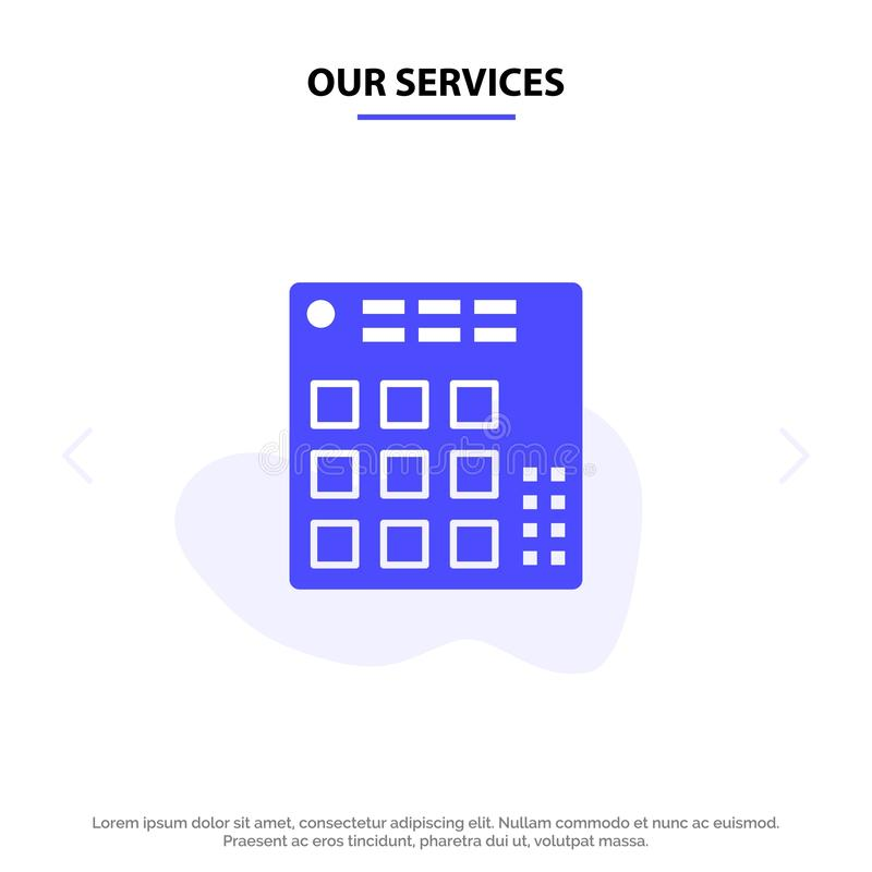 Nuestros servicios audios, regulador, DJ, vivo, plantilla sólida de la tarjeta de la web del icono del Glyph del mezclador ilustración del vector
