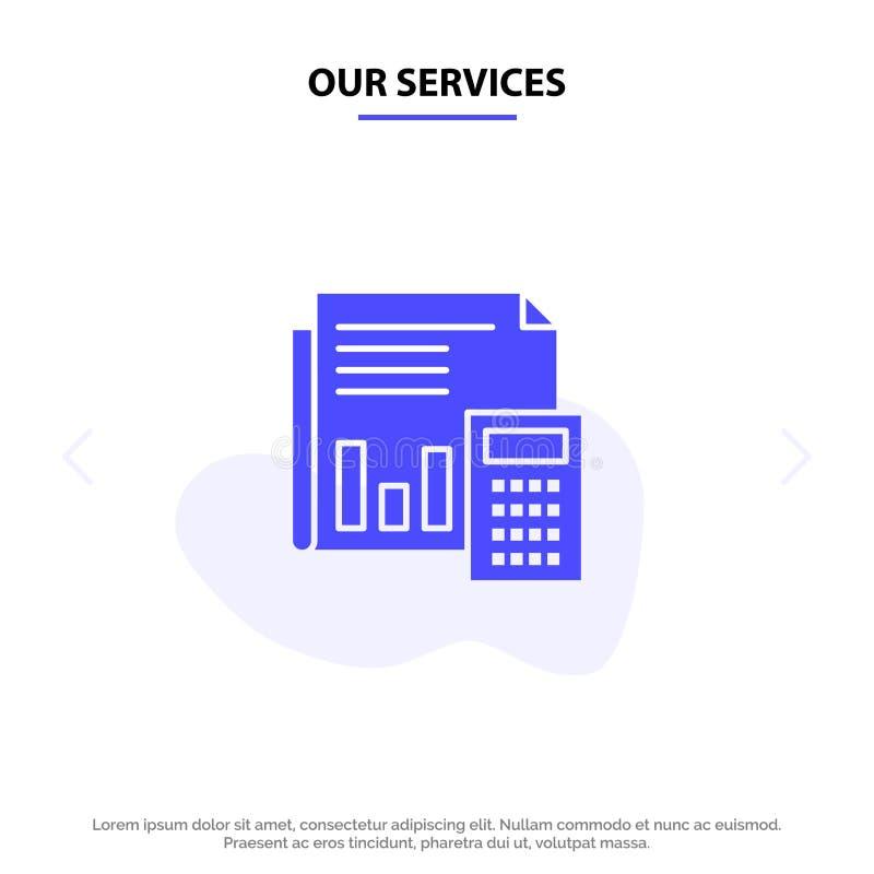 Nuestros servicios auditan, contabilidad, actividades bancarias, presupuesto, negocio, cálculo, financiero, plantilla sólida de l ilustración del vector