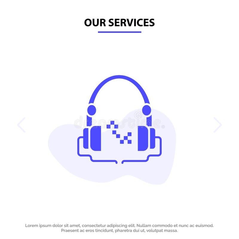 Nuestros servicios auricular, música, audio, plantilla sólida libre de la tarjeta de la web del icono del Glyph de la mano stock de ilustración