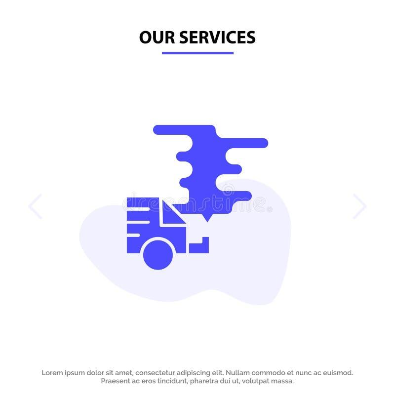 Nuestros servicios automóvil, coche, emisión, gas, plantilla sólida de la tarjeta de la web del icono del Glyph de la contaminaci libre illustration