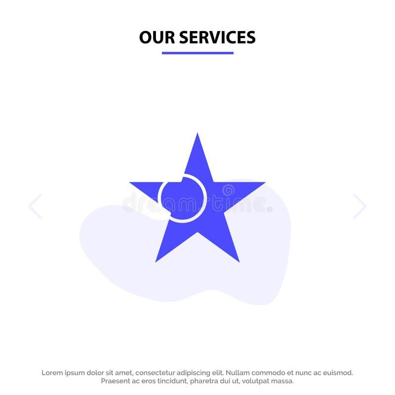 Nuestros servicios Bangladesh, bandera, plantilla sólida de la tarjeta de la web del icono del Glyph de la estrella stock de ilustración