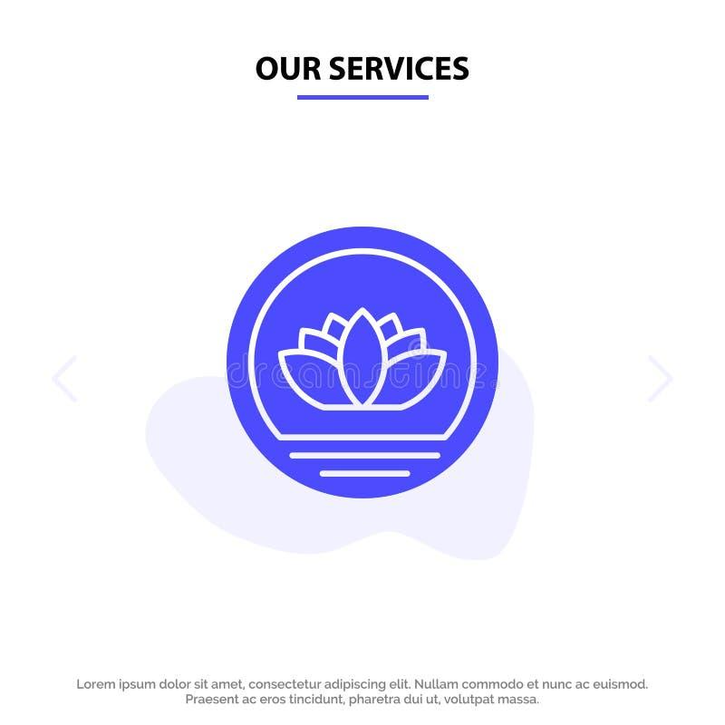 Nuestros servicios Bangladesh, bangladeshí, moneda, acuñan la plantilla sólida de la tarjeta de la web del icono del Glyph stock de ilustración