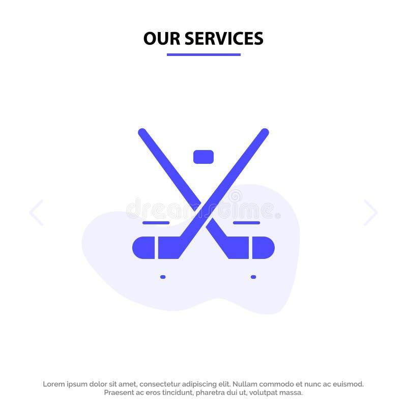 Nuestros servicios Canadá, juego, hockey, hielo, plantilla sólida de la tarjeta de la web del icono del Glyph de las Olimpiadas stock de ilustración