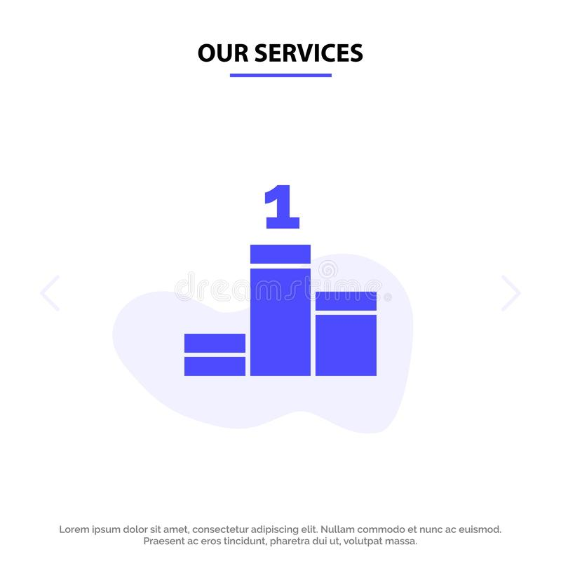 Nuestros servicios colocan, éxito, plantilla sólida de la tarjeta de la web del icono del Glyph del logro stock de ilustración