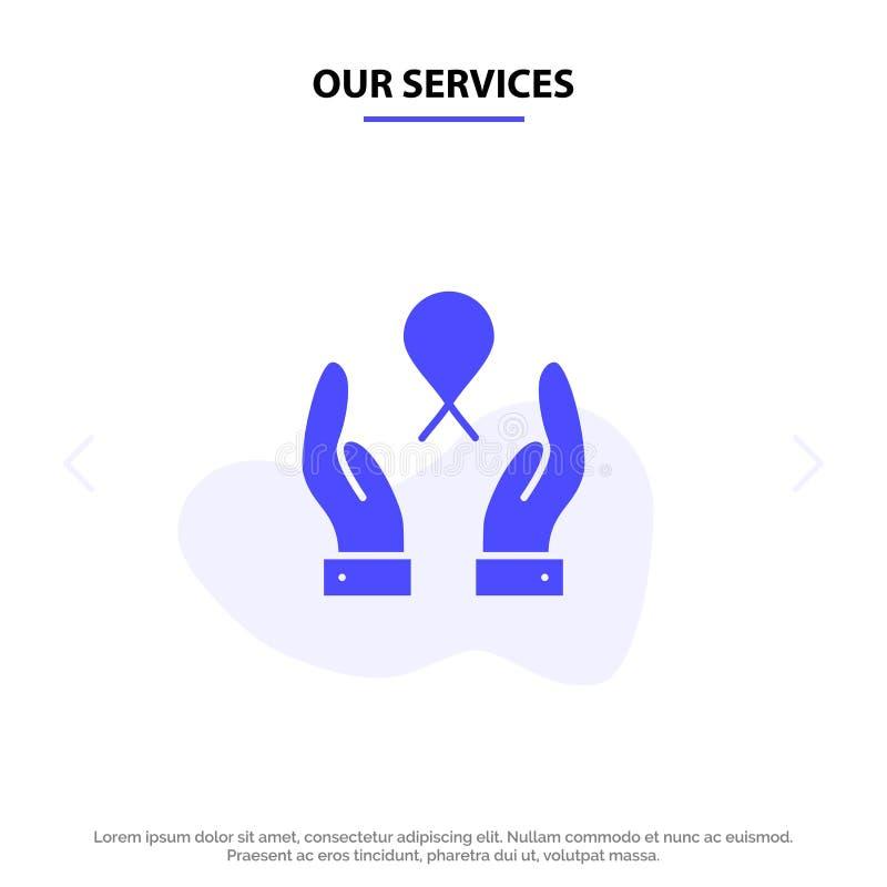 Nuestros servicios cuidan, cáncer de pecho, cinta, plantilla sólida de la tarjeta de la web del icono del Glyph de la mujer ilustración del vector