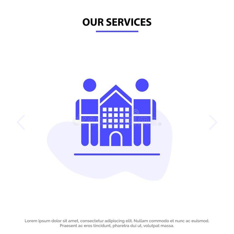 Nuestros servicios cultivan, amistoso, amigos, hogar, plantilla sólida de la tarjeta de la web del icono del Glyph de la vida libre illustration