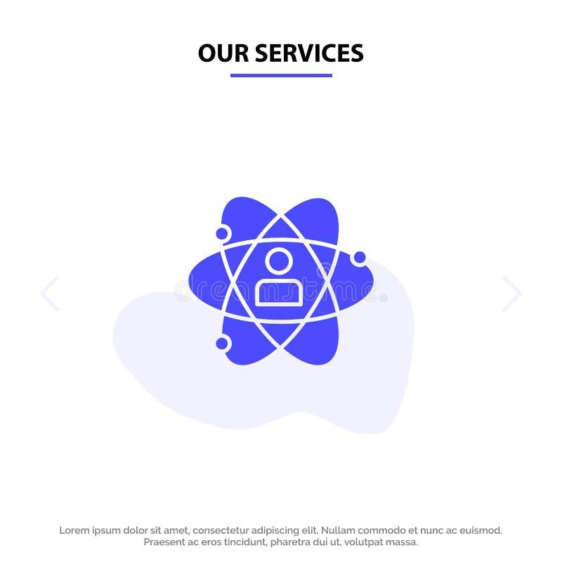 Nuestros servicios desarrollo, crecimiento, ser humano, persona, personal, poder, plantilla sólida de la tarjeta de la web del ic ilustración del vector