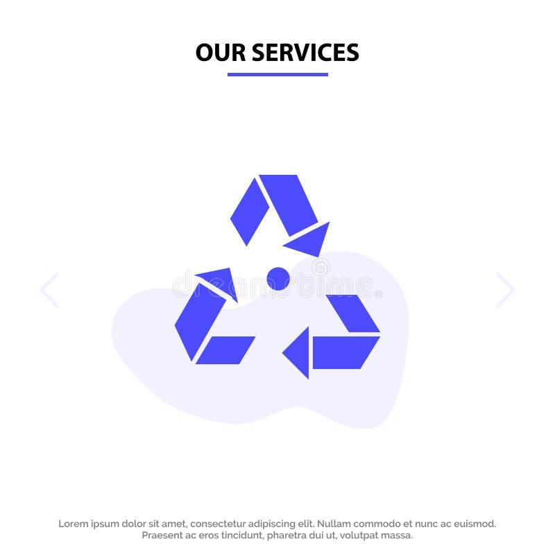 Nuestros servicios Eco, ecología, ambiente, basura, plantilla sólida verde de la tarjeta de la web del icono del Glyph stock de ilustración