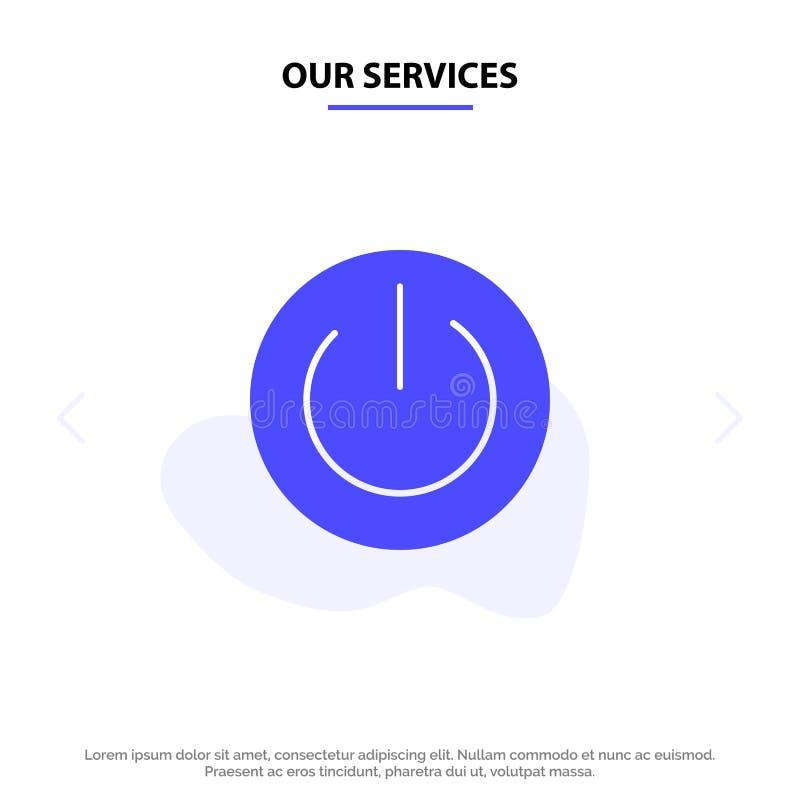 Nuestros servicios Eco, ecología, energía, ambiente, plantilla sólida de la tarjeta de la web del icono del Glyph del poder stock de ilustración