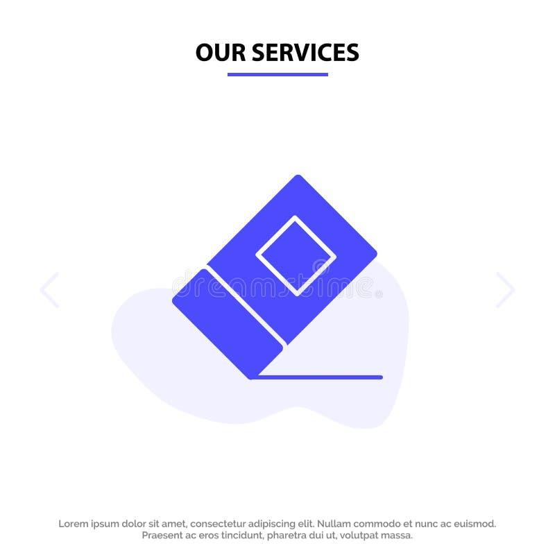 Nuestros servicios educación, borrador, plantilla sólida inmóvil de la tarjeta de la web del icono del Glyph stock de ilustración
