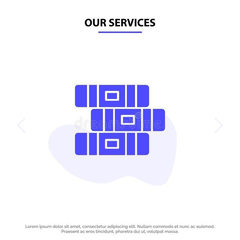 Nuestros servicios educación, cuaderno, plantilla sólida inmóvil de la tarjeta de la web del icono del Glyph stock de ilustración