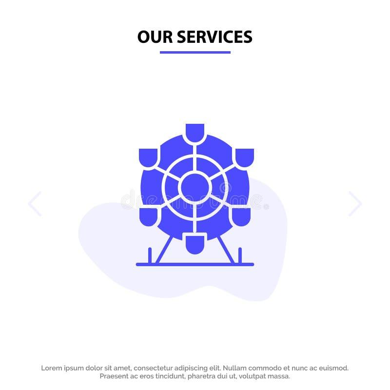 Nuestros servicios Ferris, parque, rueda, plantilla sólida de la tarjeta de la web del icono del Glyph de Canadá ilustración del vector