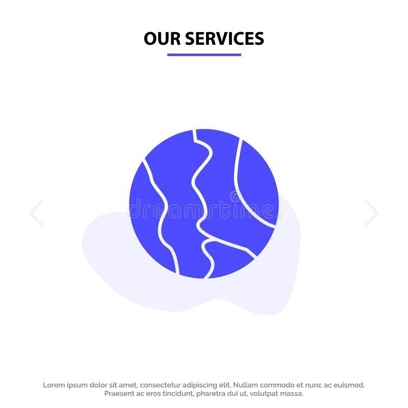 Nuestros servicios globales, ubicación, mapa, mundo, plantilla sólida de la tarjeta de la web del icono del Glyph de la geografía ilustración del vector