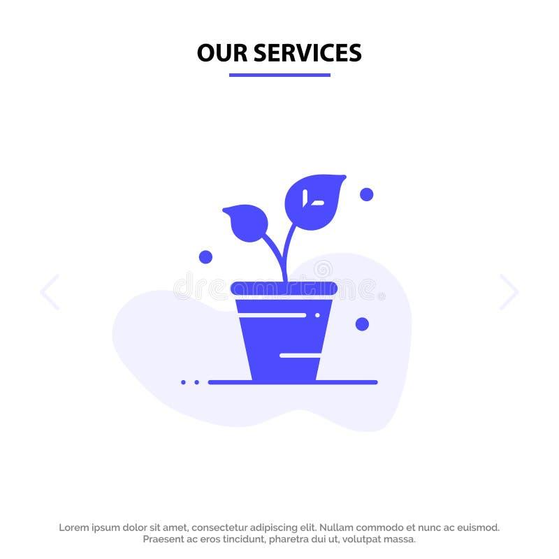 Nuestros servicios hojean, ecología, primavera, plantilla sólida de la tarjeta de la web del icono del Glyph de la naturaleza libre illustration