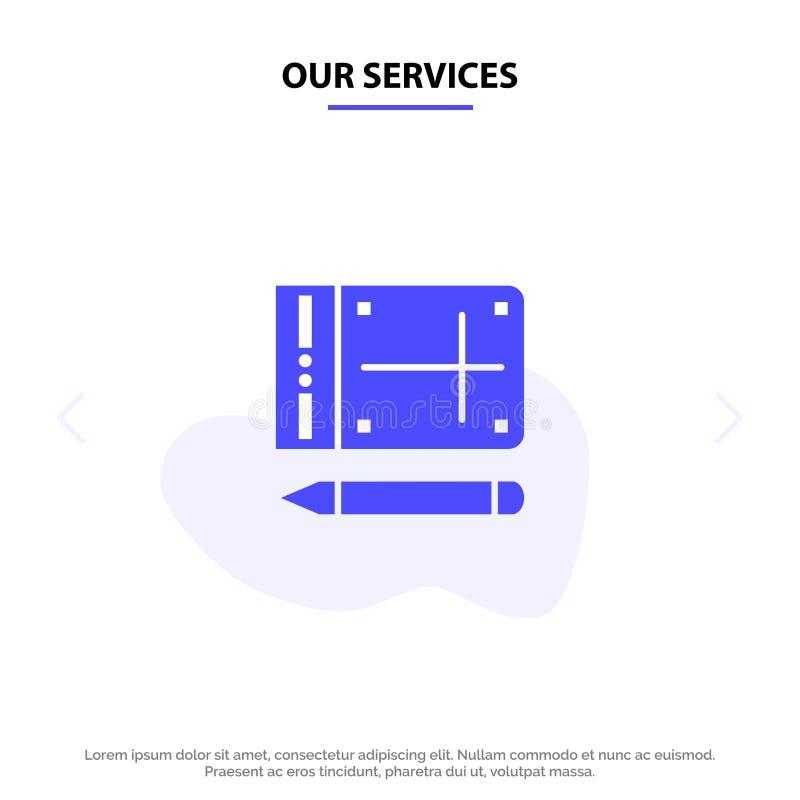 Nuestros servicios móviles, lápiz, en línea, plantilla sólida de la tarjeta de la web del icono del Glyph de la educación ilustración del vector