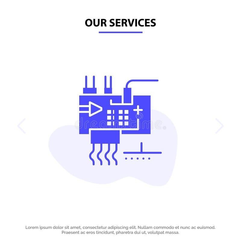 Nuestros servicios montan, modifican para requisitos particulares, electrónica, ingeniería, plantilla sólida de la tarjeta de la  ilustración del vector