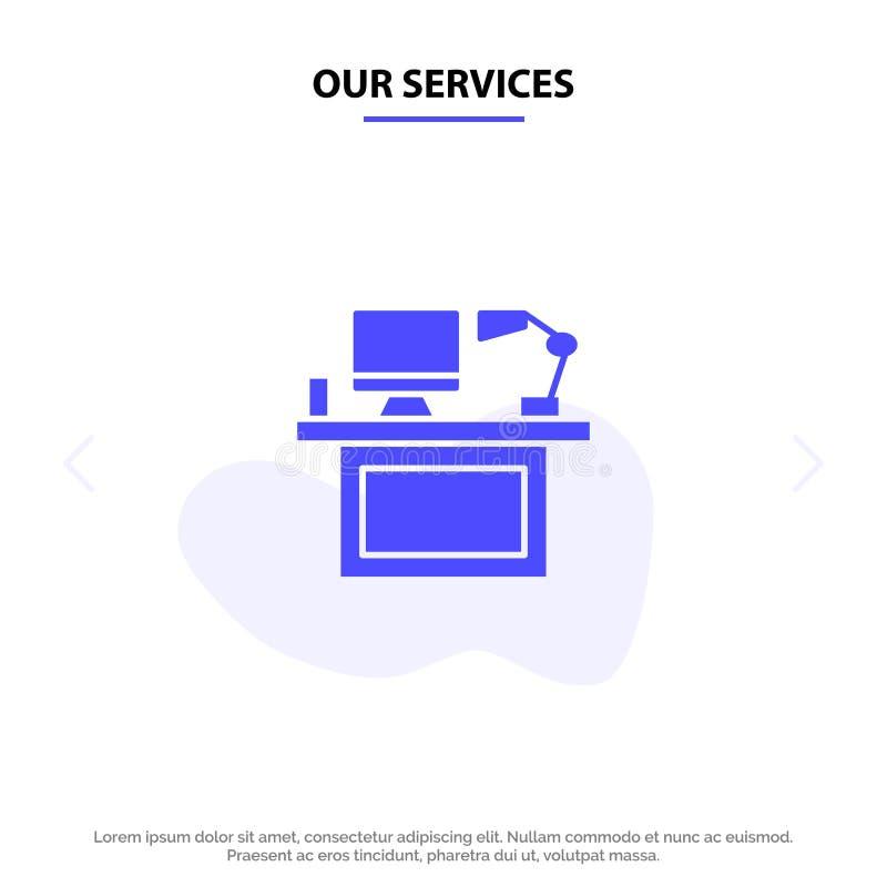Nuestros servicios ordenador, escritorio, mesa, monitor, oficina, lugar, plantilla sólida de la tarjeta de la web del icono del G ilustración del vector