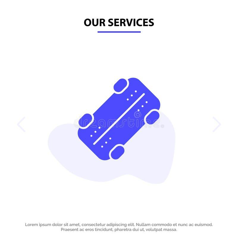 Nuestros servicios patinan, andan en monopatín, se divierten la plantilla sólida de la tarjeta de la web del icono del Glyph ilustración del vector