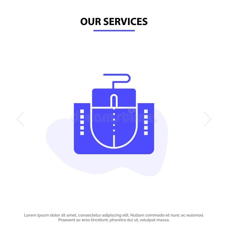 Nuestros servicios ratón, interfaz, interfaz del ratón, plantilla sólida de la tarjeta de la web del icono del Glyph del ordenado stock de ilustración