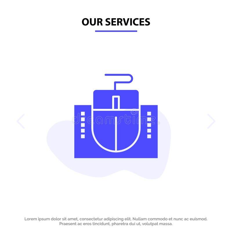 Nuestros servicios ratón, ordenador, hardware, plantilla sólida de la tarjeta de la web del icono del Glyph de la educación ilustración del vector