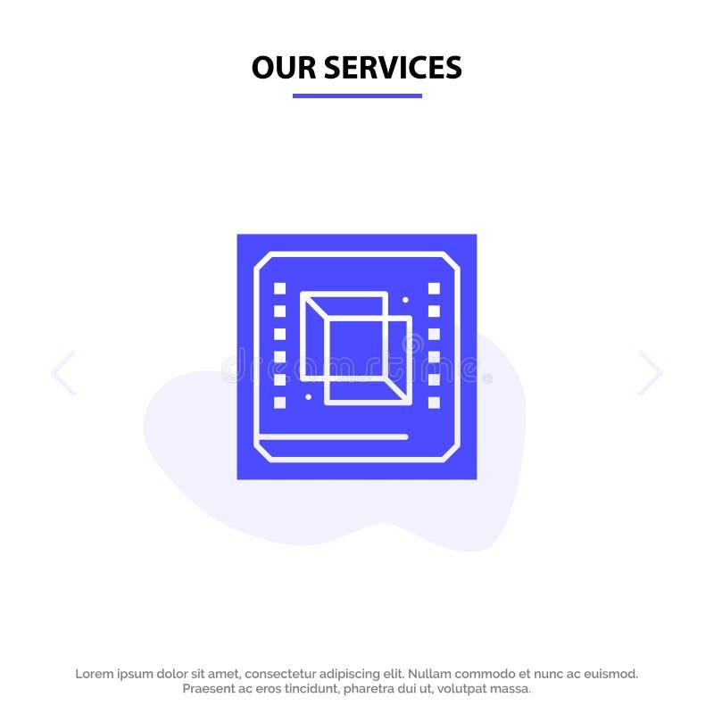 Nuestros servicios saltan, el ordenador, CPU, hardware, plantilla sólida de la tarjeta de la web del icono del Glyph del procesad stock de ilustración