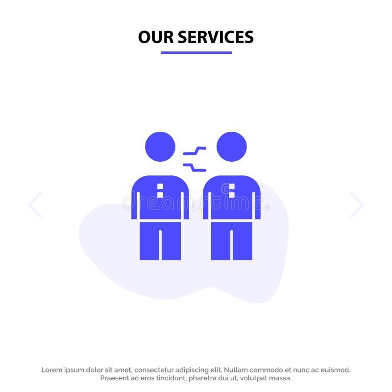 Nuestros servicios sociedad, acuerdo, negocio, cooperación, trato, apretón de manos, plantilla sólida de la tarjeta de la web del libre illustration