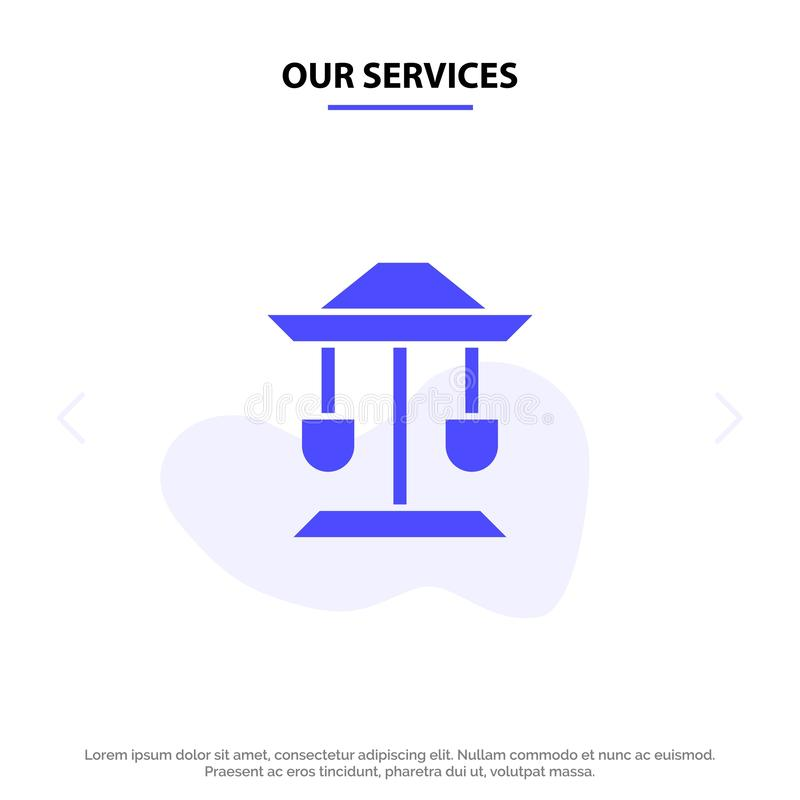 Nuestros servicios teclean, bien, la ley, plantilla sólida de la tarjeta de la web del icono del Glyph de la balanza stock de ilustración