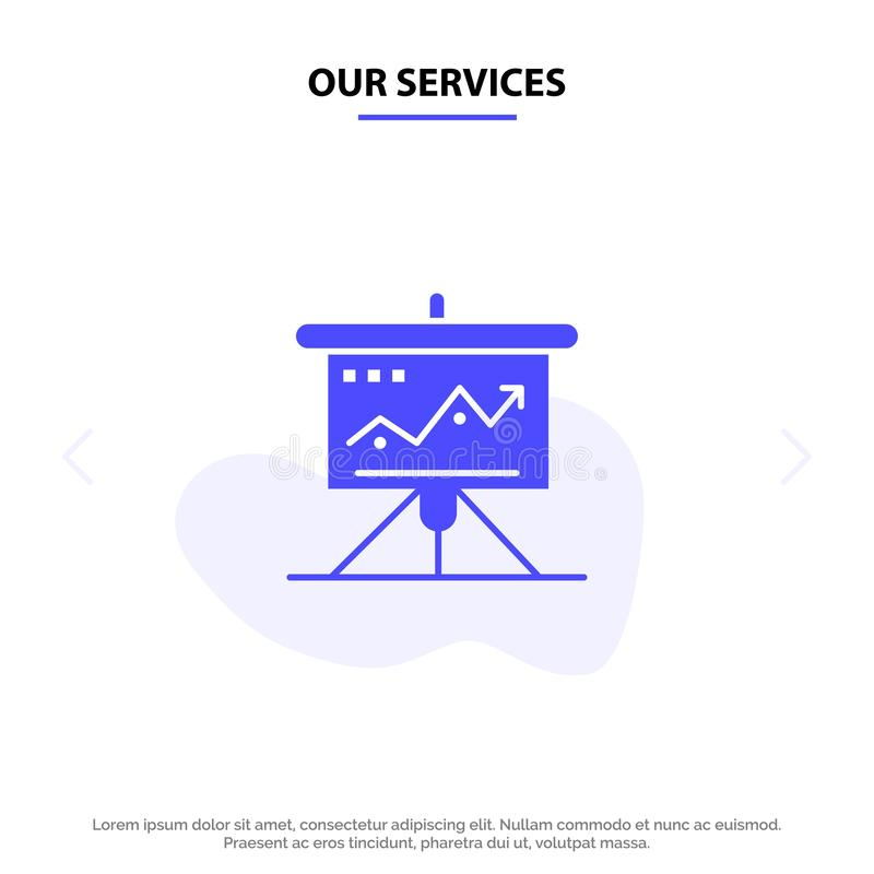 Nuestros servicios trazan, negocio, desafío, márketing, solución, éxito, plantilla sólida de la tarjeta de la web del icono del G ilustración del vector
