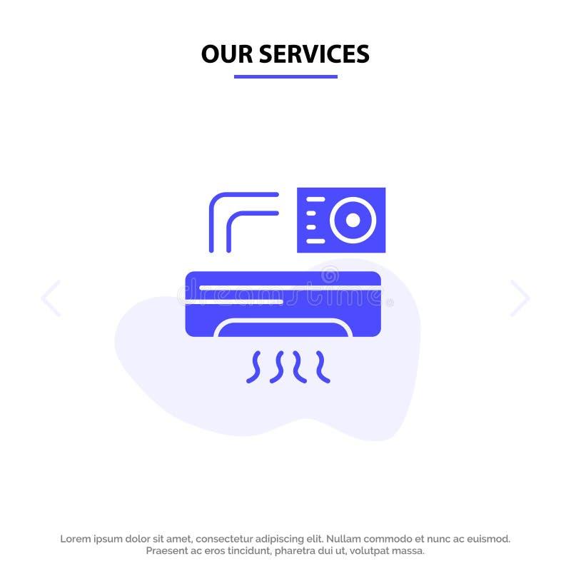 Nuestros servicios ventilan, la Aire-condición, CA, plantilla sólida de la tarjeta de la web del icono del Glyph del sitio libre illustration