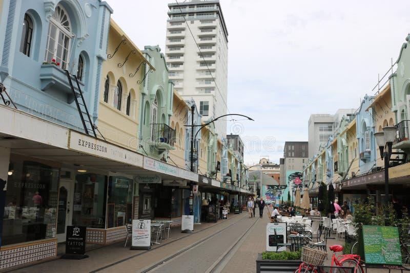 Nueva alameda peatonal de Regent Street, Christchurch NZ imagen de archivo