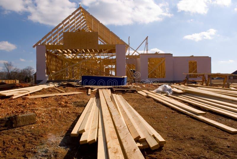 Nueva casa bajo construcción imagenes de archivo